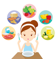 Girl Five Groups Food Eat vector image vector image