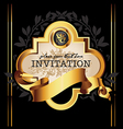 Golden royal lable on black background vector image vector image