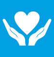 hands holding heart icon white vector image vector image