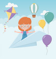 happy childrens day smile girl on paper plane vector image vector image
