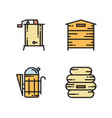 honey production icons - hive smoker extractor vector image vector image
