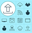 internet icons set collection of storage upload vector image vector image