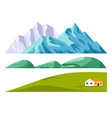 landscape constructor set with mountains and green vector image vector image