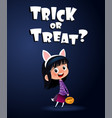 little cute witch with candy bascket halloween vector image vector image
