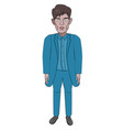 male model in a blue suit business style cartoon vector image vector image