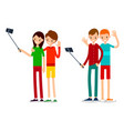 man and woman do selfie friends do joint vector image vector image
