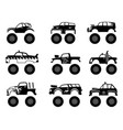 monster truck automobile big tires and wheels off vector image vector image