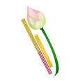 Pink Lotus with Joss Sticks and Candle vector image vector image