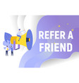 refer a friend text concept background with people vector image vector image