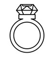 ring with a big diamond icon outline style vector image vector image