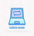 screen share line icon opened laptop with arrows vector image