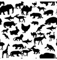 seamless pattern farm wildlife animals silhouette vector image vector image