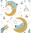 seamless pattern with cute animals fliyng vector image