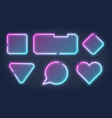 set realistic glowing different shapes neon vector image vector image