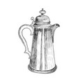 skertch of vintage of a coffee pot in vector image vector image