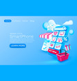 smartphone shopping app banner concept place vector image