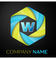 W Letter colorful logo in the hexagonal on black vector image vector image