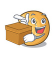 with box cashew nut salty roasted on cartoon vector image