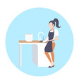 woman washing dishes housewife wiping plates on vector image