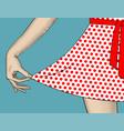 womans hand pull edge polka-dot dres vector image