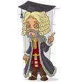 Cartoon old rich medieval blond judge vector image