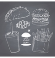 Sketched chalk style fast food set with burger vector image
