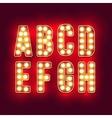 Vintage letters Set of retro neon alphabet part vector image