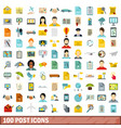 100 post icons set flat style vector image