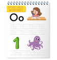 Alphabet tracing worksheet with letter o and o