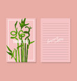 asian lucky bamboo grass template on pink vector image