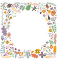 autumn frame with flowers leaves and branches vector image
