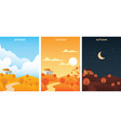 autumn landscape at sunrise sunset and night vector image vector image