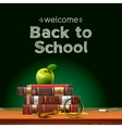 Back to school school books with apple on desk vector image vector image
