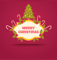 banner with a christmas tree vector image vector image