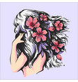 beautiful girl with pink flowers in hair back side vector image vector image