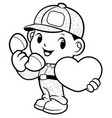 black and white soldier mascot call of love vector image vector image
