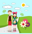 Boy and girl - man and woman on meadow with