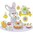 Bunny cooks a holiday cake to Easter vector image vector image