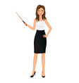 business woman with pointer teacher character vector image vector image