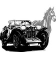 car with horse wedding invitation vintage design vector image