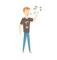 cartoon male superstar singer singing singer vector image