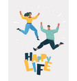 cheery young couple jumping together vector image vector image