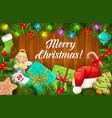 christmas tree xmas gift sock and presents frame vector image vector image