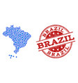 collage map of brazil with linked points and vector image vector image