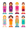 colorful collection of pixel art female characters vector image vector image