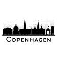 Copenhagen City skyline black and white silhouette vector image vector image