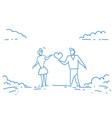 couple in love holding heart shape valentine day vector image