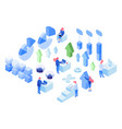 data analytics isometric set vector image