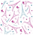 Eifel Tower Paris Love Pink Grey Drawing vector image vector image