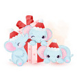 elephants playing with gift box and wearing santa vector image vector image